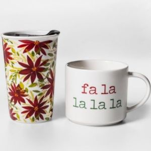 THRESHOLD NWT 2 pack holiday mug set fa la la la